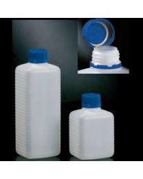 Botellas en polietileno con tapón precinto azul